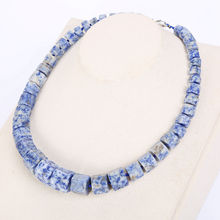 Blue Rainbow Natural Stone Necklace Choker Men Magnesite Square Diamond Stone Gemstone Power Crystal Male Fine Jewelry Gift NEW