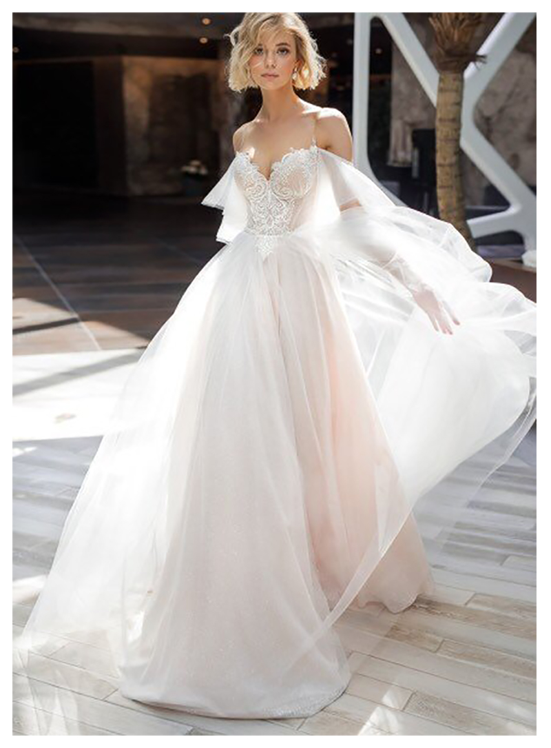 SoDigne Wedding Dress 2019 Spaghetti Straps Beach Bridal Gown Appliques Wedding Dresses White/Ivory Backless Wedding Gowns