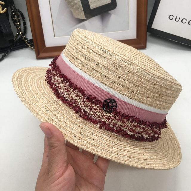 a60e4bb611180 M summer hat linen lafite straw hat in the short beach hat flat topi travel  British