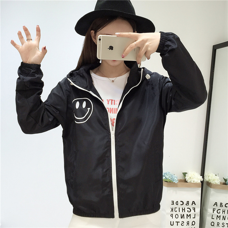 Jackets   Women 2019   Basic     Jacket   Women's Hooded Smiley Print Casual Women Solid New Fashion Thin Windbreaker Female Coat Outwear