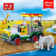 BanBao Educational Building Bricks Patrol Car Giraffe Elephant National Zoo Animal Blocks Model Toys Kids Children Gift 6657(China)