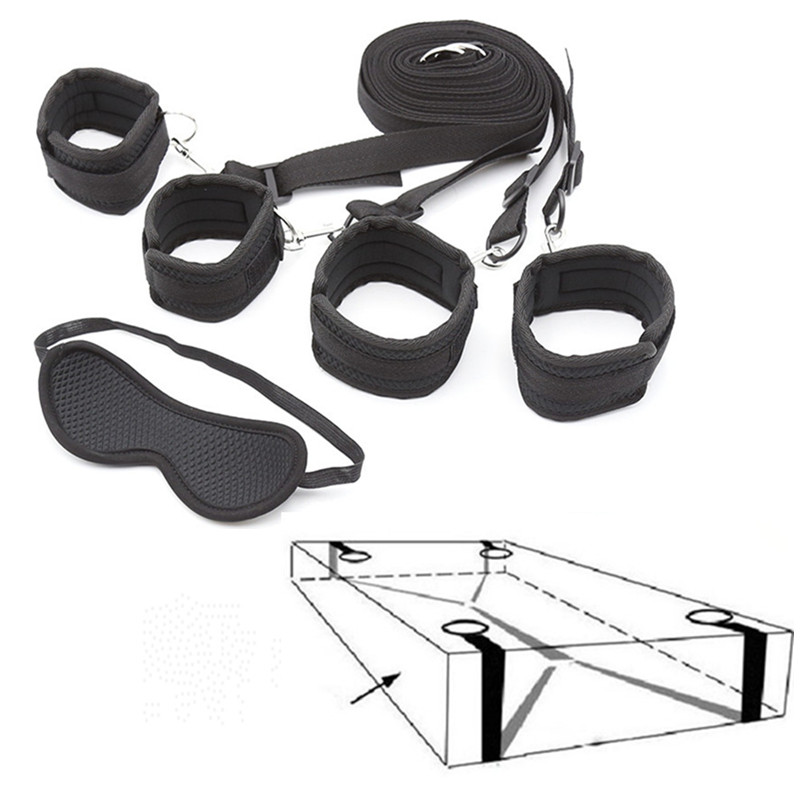 Intimate Goods Under Bed BDSM Bondage SM Nylon Restraints System Sex Handcuffs Ankle Cuffs Eye Mask Erotic Toys For Adults