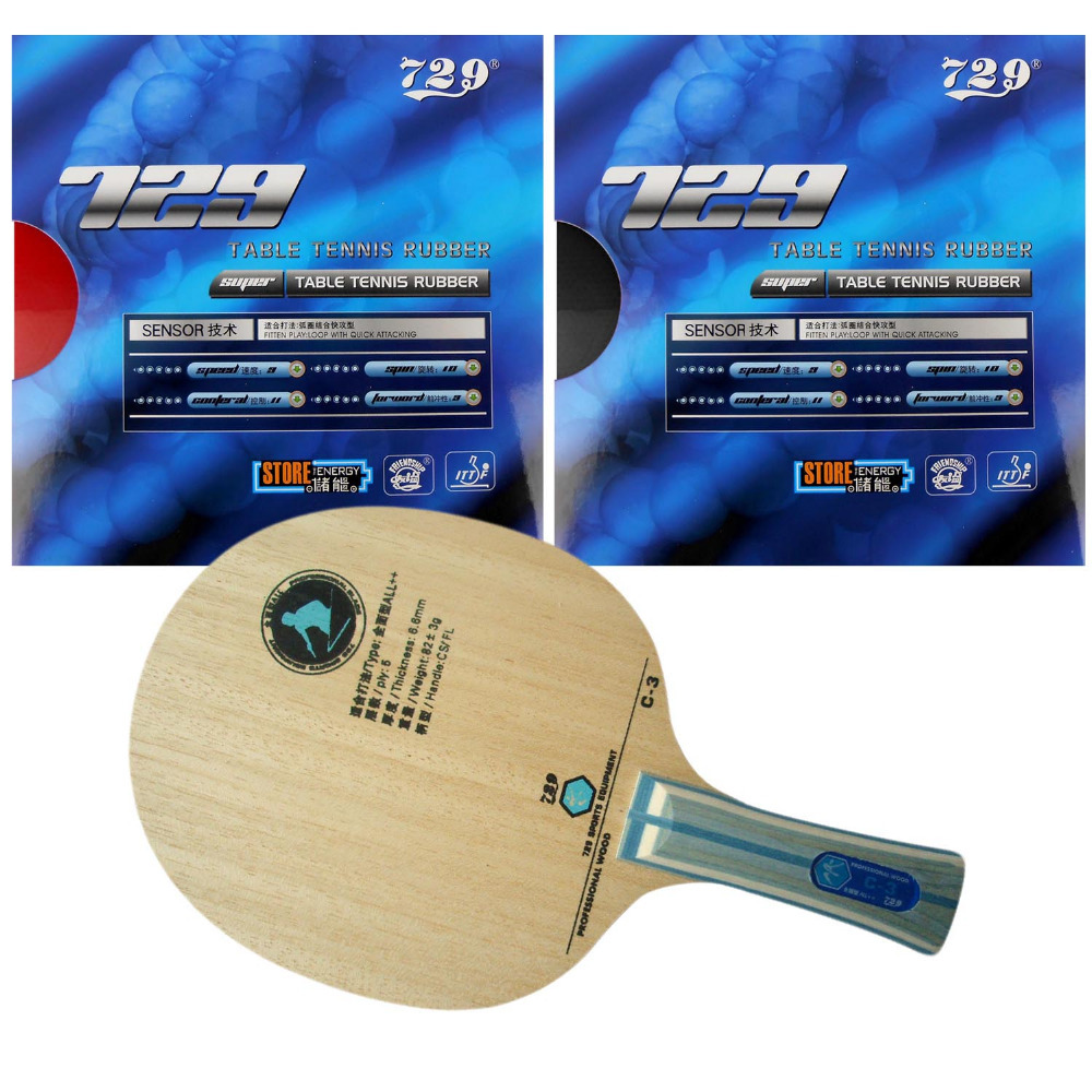 Pro Combo Ping Pong Racket Table Tennis Blade RITC729 C-3 C3 C 3 with 2x SUPER FX-729 GuoYuehua Rubber for Paddle FL sword subdue table tennis blade with double fish 1615 and 820a rubber with sponge for a ping pong racket long shakehand fl