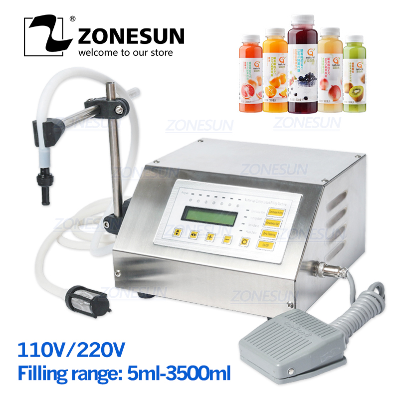 ZONESUN 5-3500ml Accuracy Digital Liquid Filling Machine LCD Display Perfume Drink Water Milk Filling Machine Bottle Vial Filler