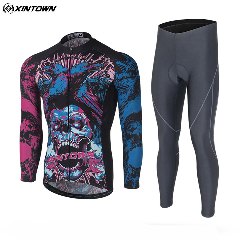 XINTOWN Mens Team Riding Pro Ropa Ciclismo Cycling Sets Long Sleeve Cycling Jersey Bib Pants Winter Cycling SKULL Set S-4XL