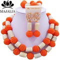 Trendy african jewelry set orange and white Coral nigerian wedding african beads jewelry set Free shipping AAA735