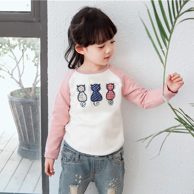 2946a9d8d Girl Autumn Spring Tops Tees Cute Kids T shirt With 3 Little Cats ...