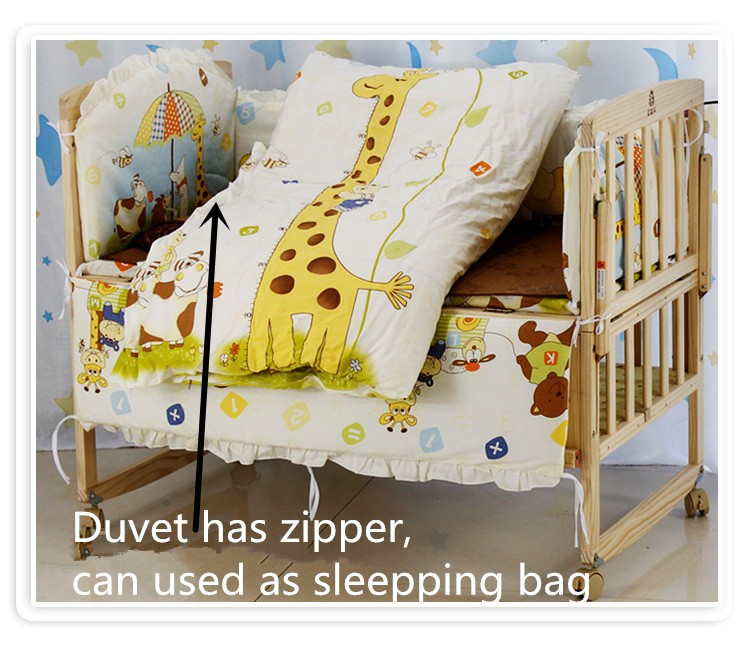 Фото Promotion! 6PCS baby cotton Applique animal crib bedding set quilt bed around (3bumpers+matress+pillow+duvet) 100*60/110*65cm. Купить в РФ