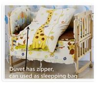 Promotion! 6PCS baby cotton Applique animal crib bedding set quilt bed around (3bumpers+matress+pillow+duvet) 100*60/110*65cm