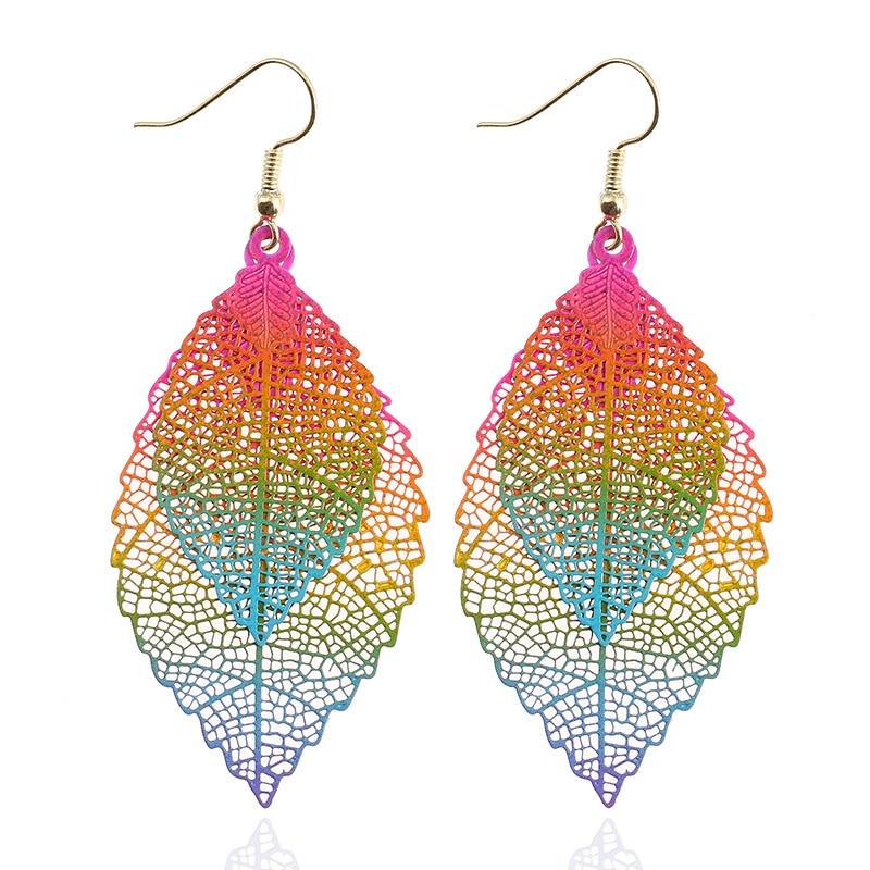 LZHLQ Vintage Leaves Drop Earrings Luxury Boho Bohemian Leaf Dangle Earrings Hollow Out Earrings For Women New Fashion Jewelry