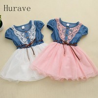 2014 New Fashion Girls Baby Lace Belt Tutu Cowboy Dress Children Patchwork Dresses For Girl