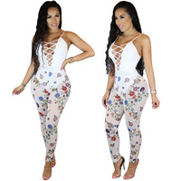New White Mesh Sexy Printed Jumpsuit Sleeveless Overalls Vest Rompers Bodysuit Womens Hollow Jumpsuit One Piece