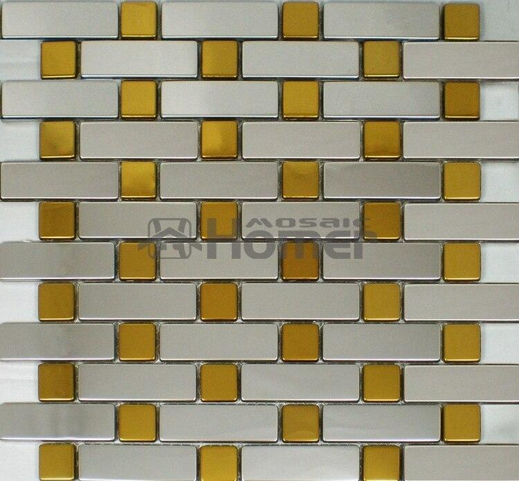 ⑤El envío libre, oro y plata color acero inoxidable metal mosaico ...