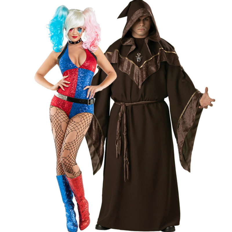 Anime Cosplay for Harley Quinn Suicide Squad Women Bra Set and Male Master Cloak No Wigs Vestidos Halloween Party Costume Adult