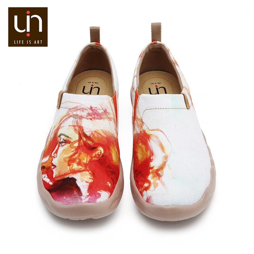 UIN Phoenix diseño pintado mujeres zapatos de lona punta redonda Casual zapatos planos señoras moda al aire libre mocasines anchos ligeros-in Zapatos planos de mujer from zapatos    1