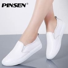 PINSEN Brand High Quality Women Genuine Leather Shoes Slip On Flats Handmade Shoes Loafers mocassin flat Women's shoes Slipony
