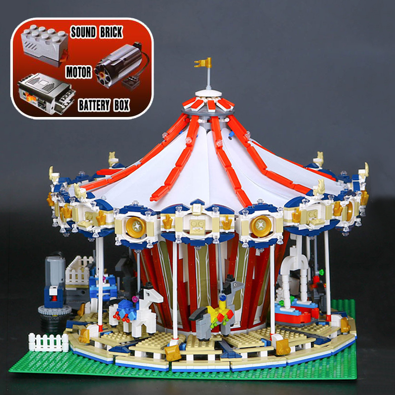 Lepin 15013 City Street Carousel Model with Power Function Building Kits Blocks 10196 Model Funny Children Educational Gift Toy lepin 15013 city sreet carousel model building kits blocks toy compatible 10196 with funny children educational lovely gift toys