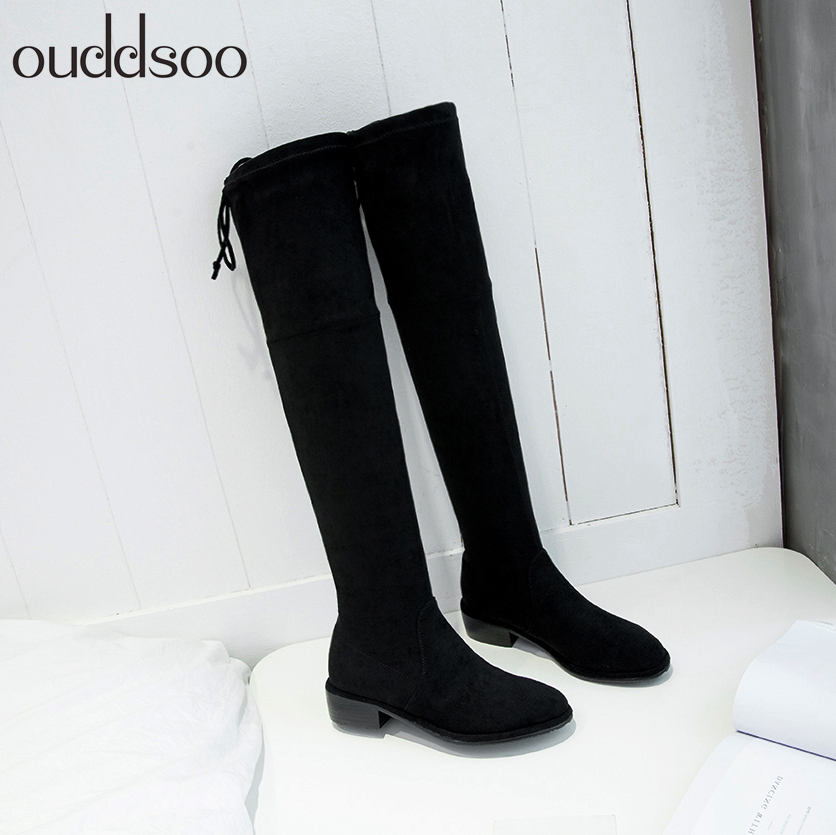 Thigh High Boots Female Winter Boots Women Over the Knee Boots Flat Stretch Sexy Fashion Shoes 2018 Black Gray Suede Square Heel