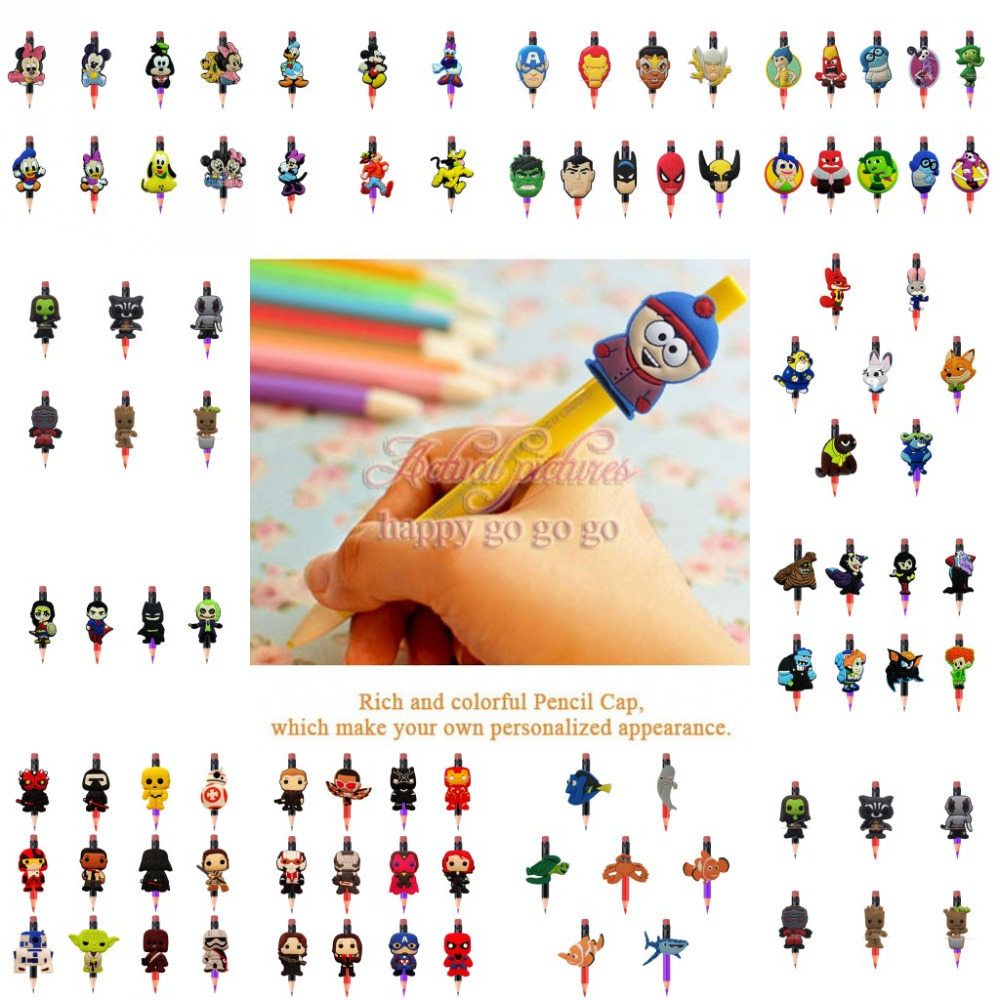 4-12Pcs/Set Kawaii Avengers Mickey Pusheen PVC Cartoon Pencil Topper Straw Charm Caps Pen Office Supplies Pencil Grip Kids Gifts