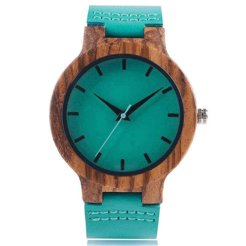 Spring Fecoration Wood Watches Handmade Green Genuine Leather Band Strap Men Women WristWatch Bamboo Sport Wooden Bangle Quartz