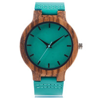 Spring Fecoration Wood Watches Handmade Green Genuine Leather Band Strap Men Women WristWatch Bamboo Sport Wooden