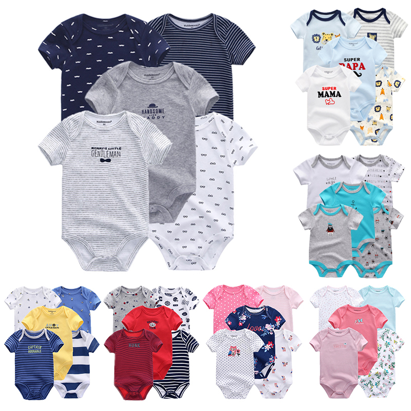 Fetchmous 5 Pcs/lot Uniesx Newborn Baby Rompers 100%Cotton