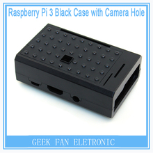 5pcs Pi Case For Raspberry Pi ABS Black Shell Case Support Camera installing Cover Case For Raspberry Pi 3&2&B plus RP0011B