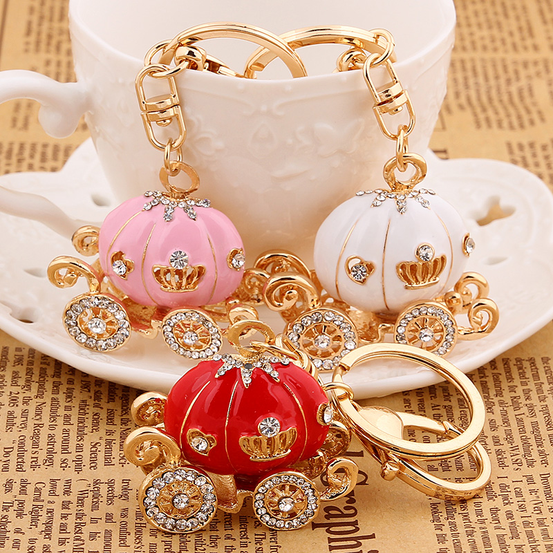 Fashion charm trinket kawaii pumpkin Rhinestone car key chain ring holder  women handbag keyring girl bag Pendant Jewelry gift-in Key Chains from  Jewelry ... a00d8642c2