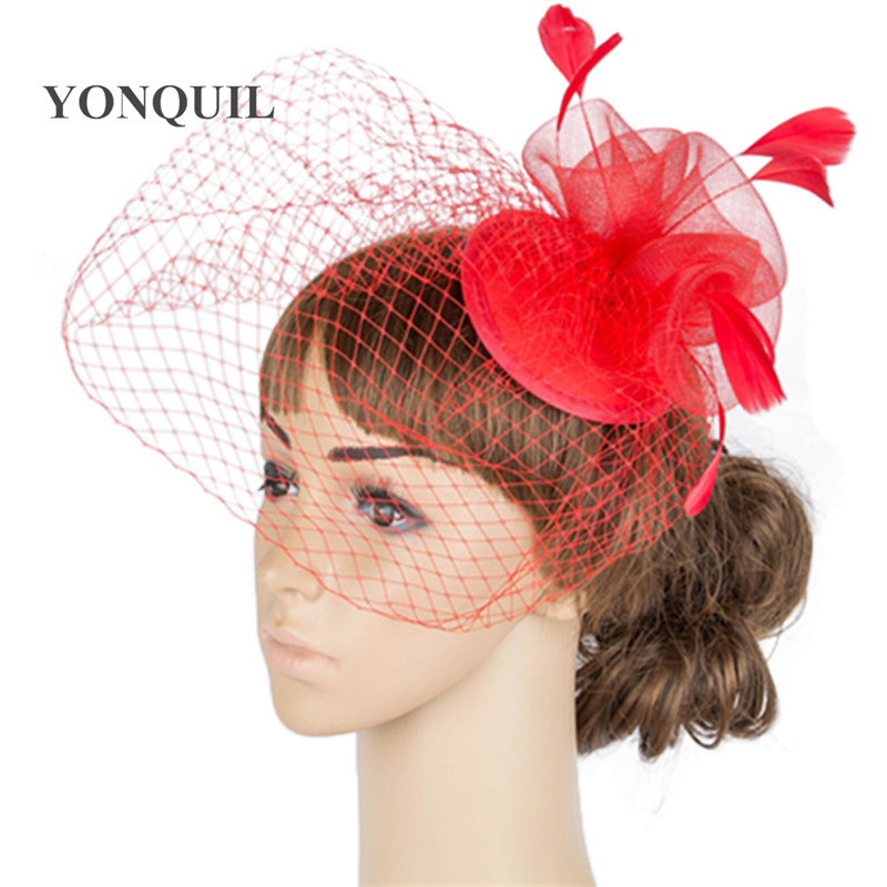 Дерби украшение с перьями аксессуары для волос 3 розы с птичьей клеткой украшения Свадебные вуали вечерние шапки несколько цветов