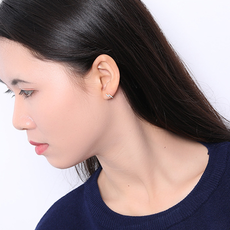 INZATT Real 925 Sterling Silver Minimalist Zircon Lightning Stud Earrings For Charming Women Punk Fine Jewelry 2019 New Gift