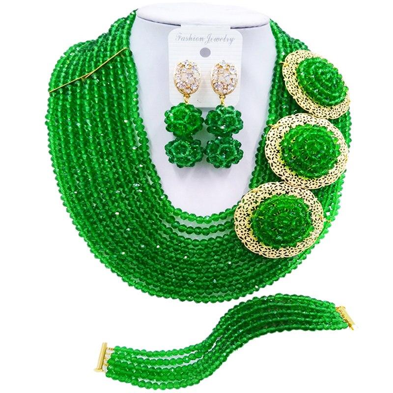 Perles vertes ACZUV ensemble de bijoux africains colliers de mariage nigérians 10C-3PH006