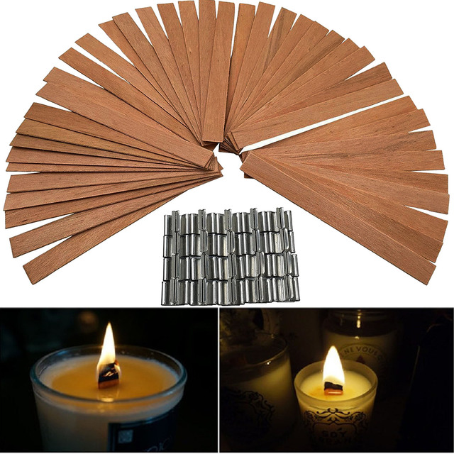 50 PCS 12.5 x 150mm Wood Candle Wicks with Sustainer Tab Supplies Velas Candele Wick for Candle DIY Making For Home Church Deco