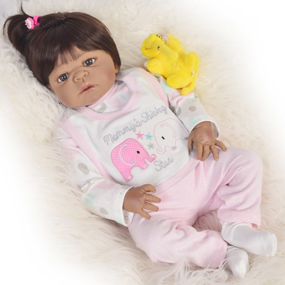 55cm Full Body Silicone Reborn Baby Doll Toy 22inch Black doll african girl Toddler Babies Doll Child gift bebes reborn55cm Full Body Silicone Reborn Baby Doll Toy 22inch Black doll african girl Toddler Babies Doll Child gift bebes reborn