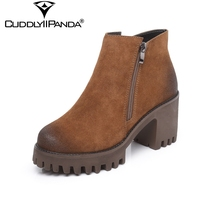 2017 Autumn Cow Suede Women Ankle Boots High Quality Martin Boots Block Heel Double Zipper Chelsea