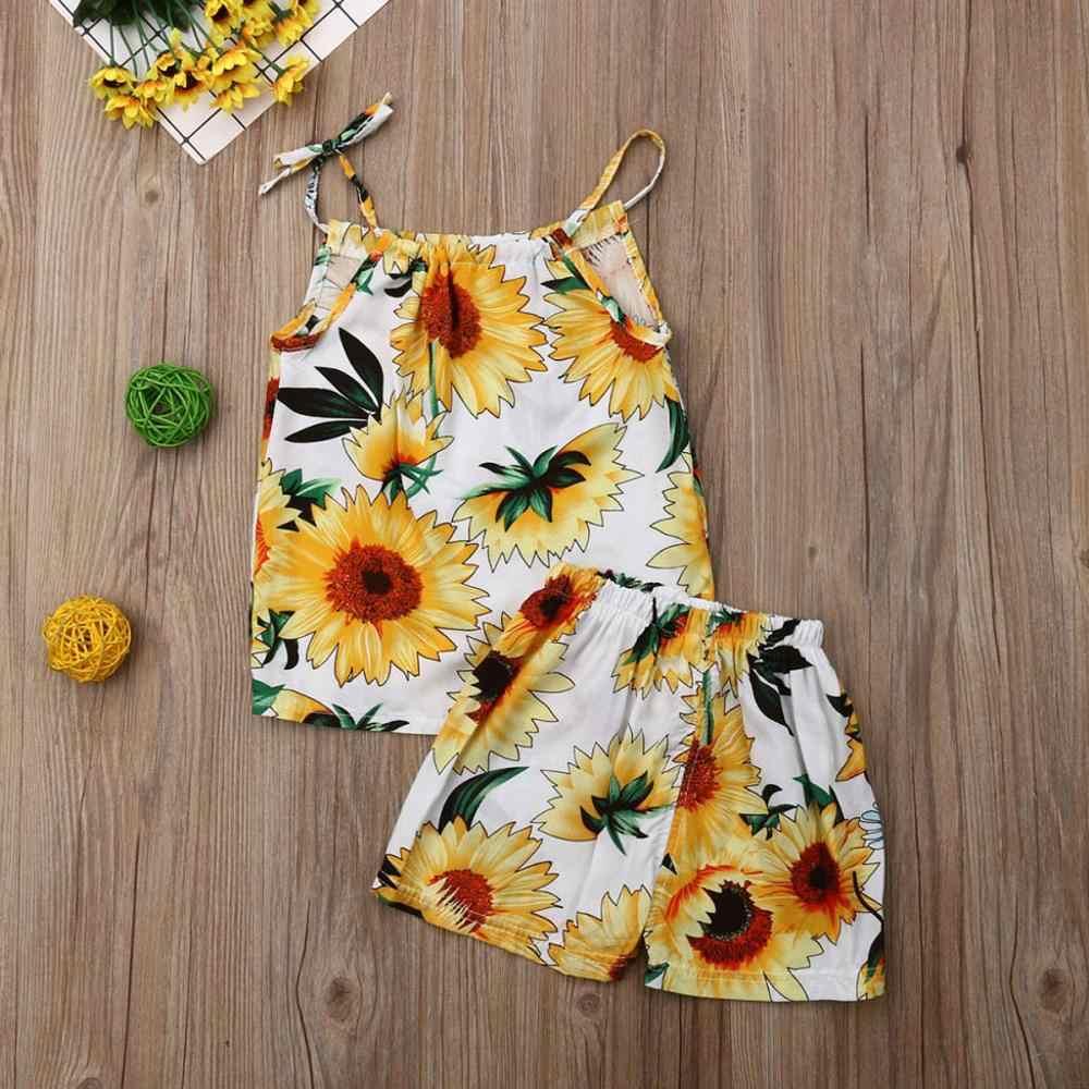 תינוקת בגדי 2019 חמניות תינוק בגדי תלבושת ללא שרוולים תינוקת חולצה מכנסיים סט Conjunto Bebe Verano Dropshipping 2