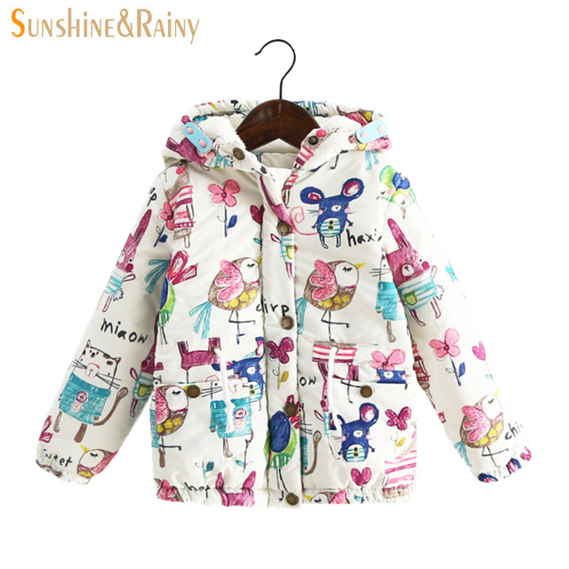 Next* Kids Jackets & Coats Cute Cartoon Graffiti Baby Girl Warm Coat Hooded Jackets Children's Jacket For Girls Spring Outerwear