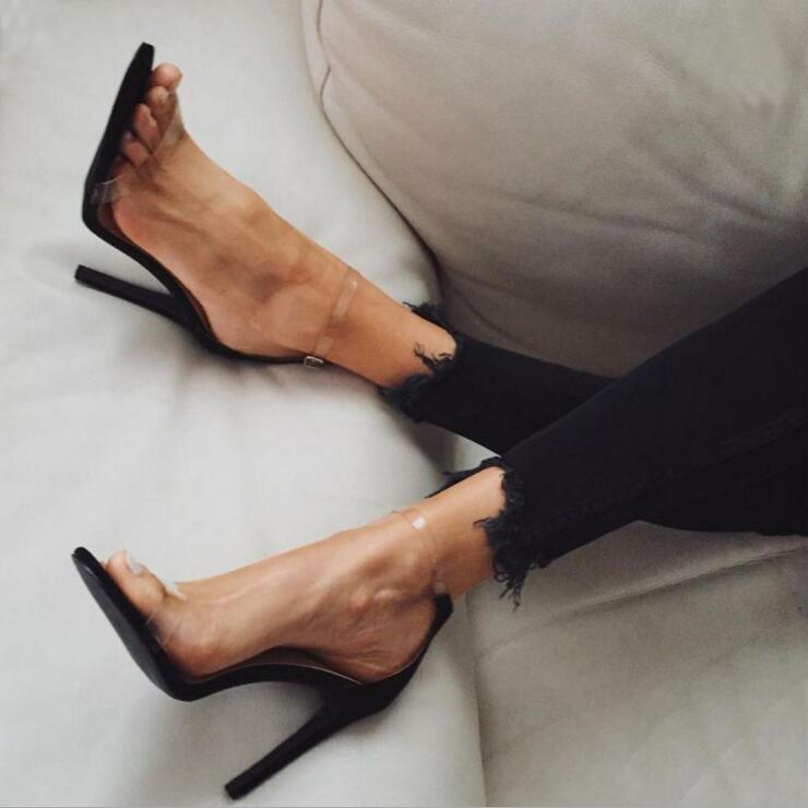 2017 Hot Sale PVC Women Platform Sandals Super High Heels Waterproof Female Transparent Crystal Wedding Shoes Sandalia Feminina
