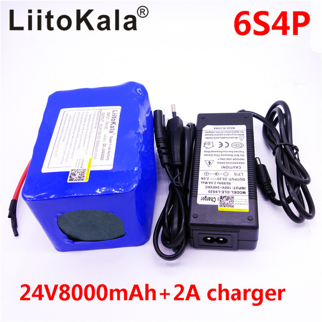 LiitoKala 24v 8Ah lithium esooter battery 24v 10Ah li-ion wheelchair battery pack DC for 250w electric bicycle motor + 2A c