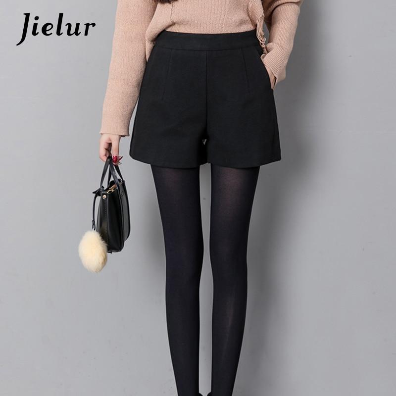 Jielur Autumn Korean Fashion Black Shorts For Women Winter Classic Basic Casual Wide Leg Short Femme Loose Zipper Woolen Shorts