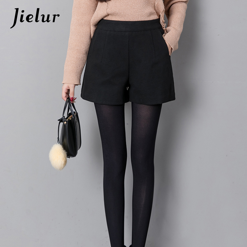 Jielur Autumn Korean Fashion Black   Shorts   for Women Winter Classic Basic Casual Wide Leg   Short   Femme Loose Zipper Woolen   Shorts