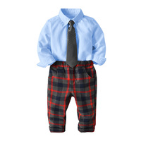 Kid Boy Wedding Banquet Gentleman Suit 3 Pieces Sets Long Sleeve Shirt + Striped Tie + Plaid Pants Kids Clothing Baby Outfits