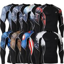 ФОТО  Mens Gym Wear Compression Long Sleeve Tshirt Fitness Crossfit Workout Clothes Training T Shirt Stretch Tops Rash Guard MMA