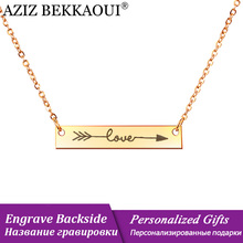 AZIZ BEKKAOUI Simple Letter LOVE Gold Color Personalized Bar Necklaces Women Engraved Name Necklace Jewelry Gift