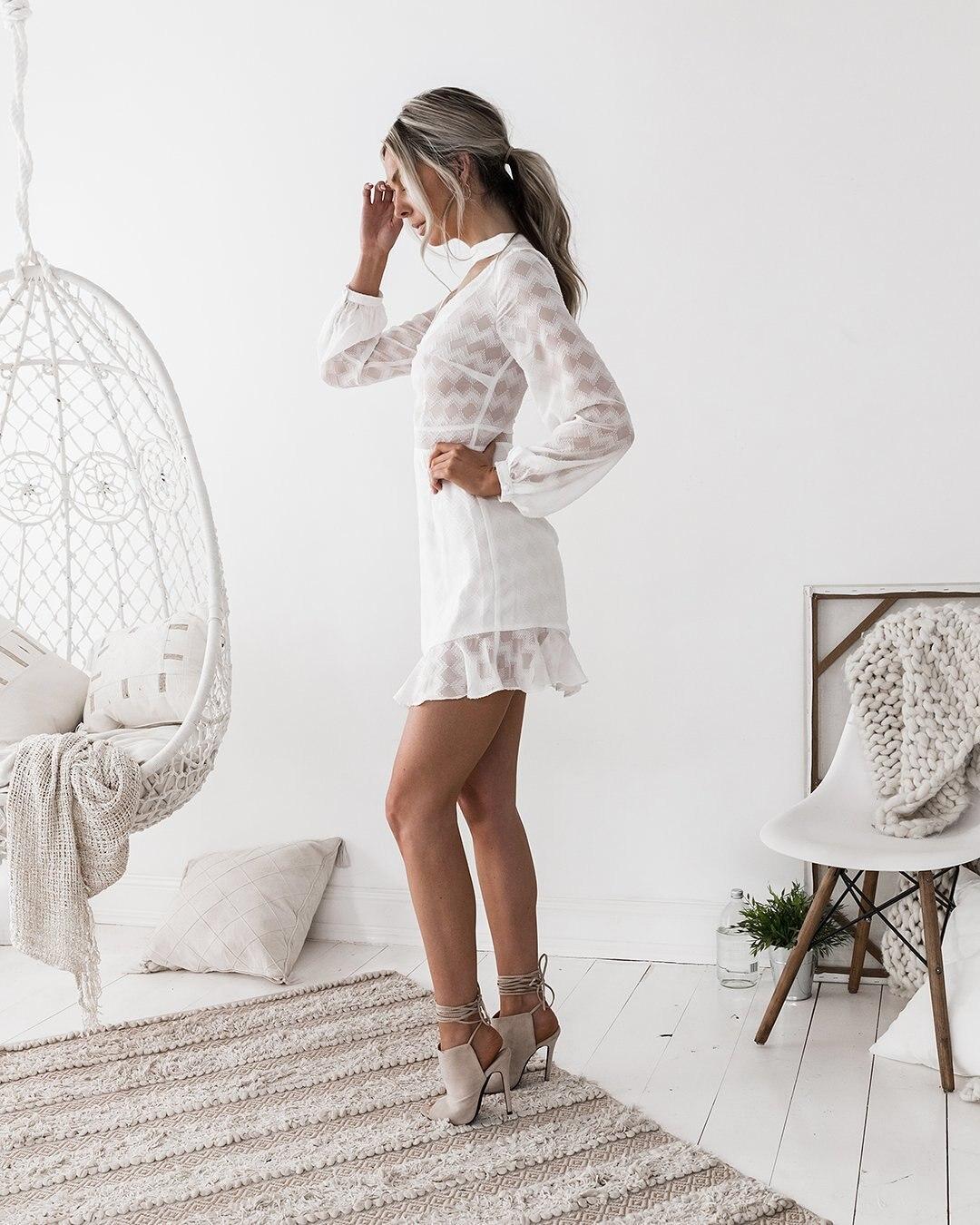 mini dress elegant sexy party club beach dress short white dress long sleeve chiffon ruffle ladies clothing summer 2018 in Dresses from Women 39 s Clothing