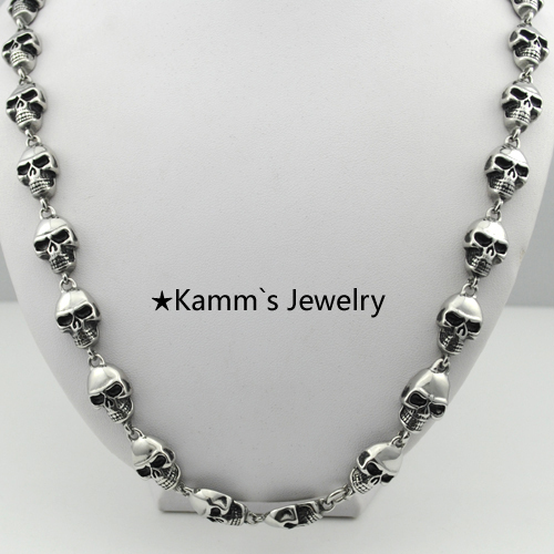 Christmas Gifts Skull Necklace Punk chain 316L Stainless Steel Casting Biker Chain Top Quality Heavy Cool Hip Hop Rock Hot KN276 kalen punk exaggerate men s statement necklaces rock 316 stainless steel skull charm 65cm long necklace cool biker pub accessory