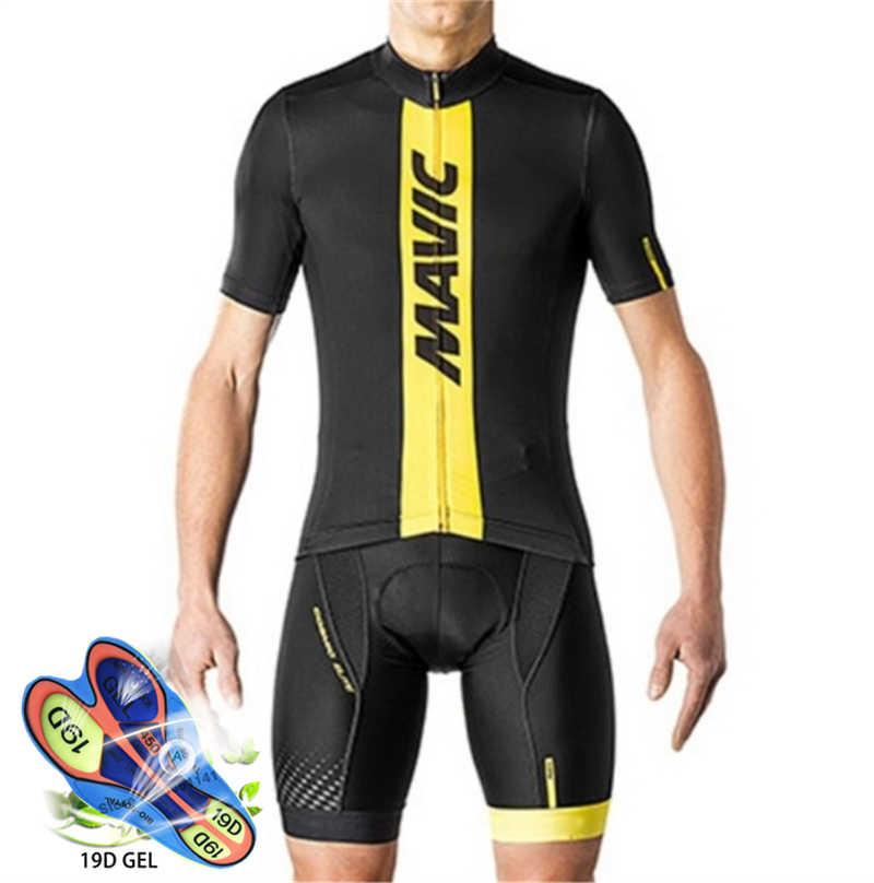 Ciclismo Jersey 2019 Pro equipo Mavic Ropa Ciclismo Hombre verano manga corta Jerseys Ciclismo Ropa triatlón babero pantalones cortos traje