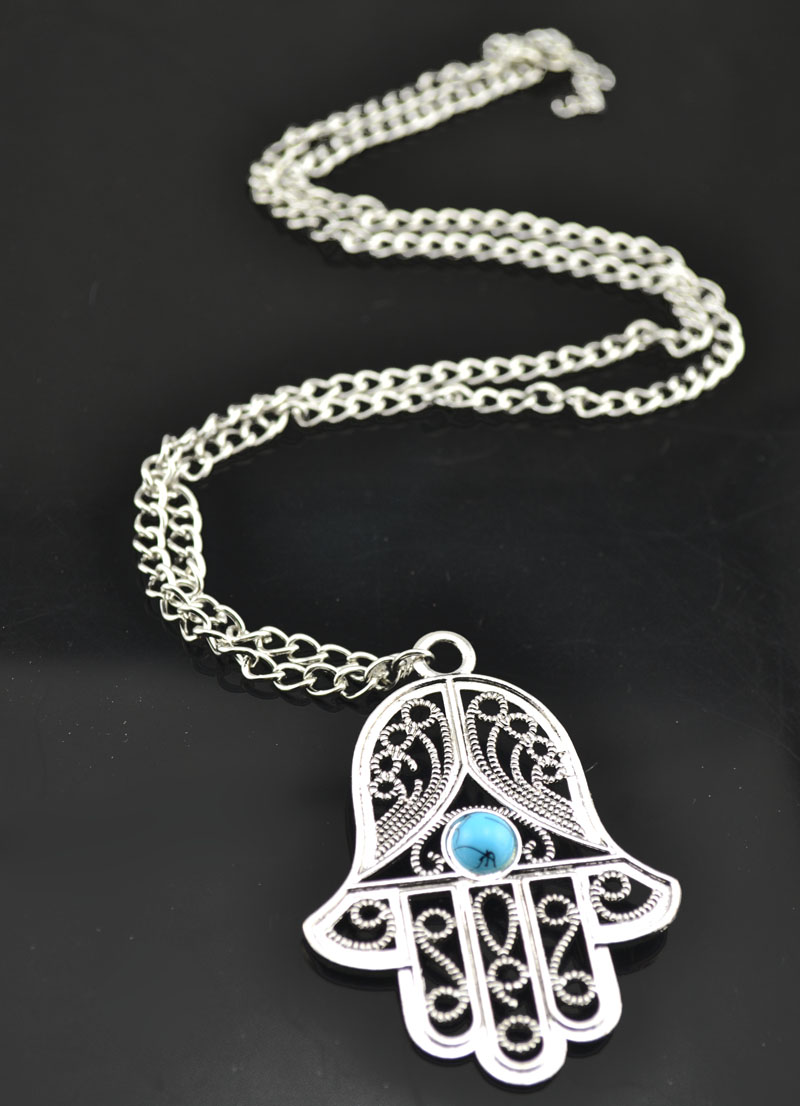 Good luck protection gem hollow hamsa symbol fatima hand pendant good luck protection gem hollow hamsa symbol fatima hand pendant necklace silver sweater long chain jewelry in pendant necklaces from jewelry accessories buycottarizona Gallery