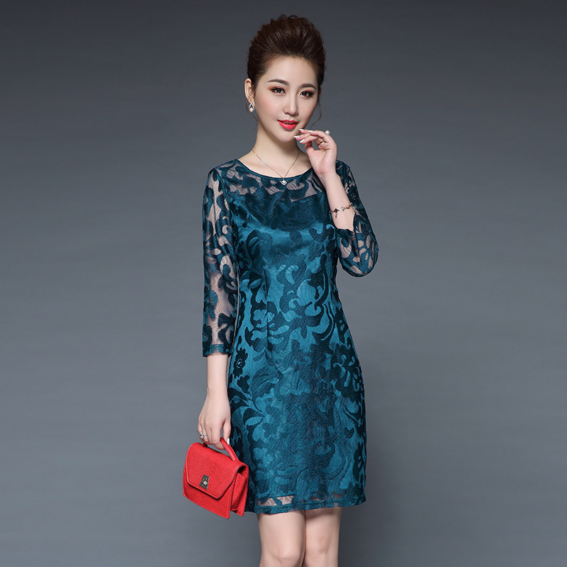 Middle and old aged womens spring 2018 new fashion dress middle-aged mother dress summer dress noble