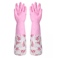 Cleaning Plus Velvet Rubber Gloves Kitchen Tools Dishwashing Plus Velvet Latex Gloves Household Three Colors Available