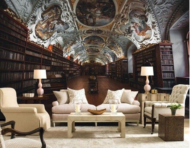 Stile europeo antica libreria di foto wallpaper per pareti 3 d